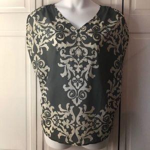 Beaded grey+cream Lane Bryant blouse 18/20